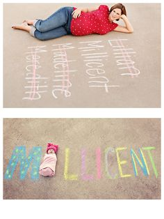 Photo of possible names while pregnant....followed by baby with his/her name.  Too cute!
