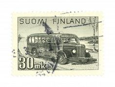 Collectible stamp from Finland. One with a vintage school bus