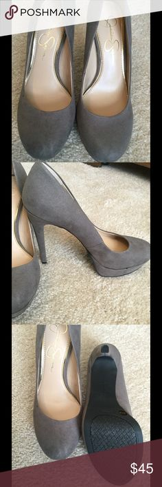 "Charcoal Grey Suede Size 8,  runs super small, fits 7, great padding, 4.75"" heel with 1"" platform Jessica Simpson Shoes Heels"