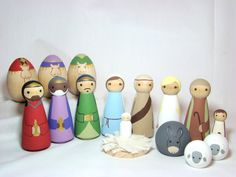 Angel, Shepherds and Animals Peg Dolls Nativity