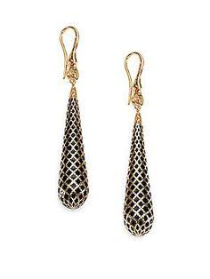 Gucci Diamantissima 18K Yellow Gold & Enamel Earrings