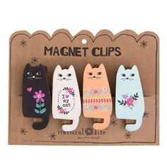 Magnet Clip Set of 4 - Cats - These colorful cat design magnet clips will hold important pictures, papers, invitations and more on your fridge while creating happiness every time you see them! These magnet clips come packaged as a set of four and are made of wood.