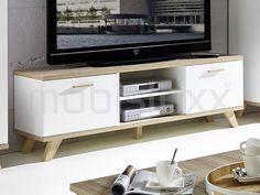 Meuble tv-hifi COSMOS 2 portes 2 niches blanc/sanremo chez Mobistoxx