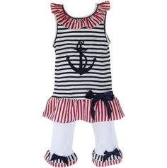 AnnLoren Big Girls sz 78 Boutique Cotton Patriotic Sailor Clothing Set >>> Continue to the product at the image link.Note:It is affiliate link to Amazon.