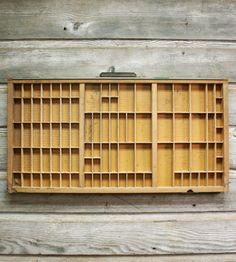 trays, wall art, coffee tables, vintag printer, printer tray, drawers, curio cabinets, art pieces, art walls