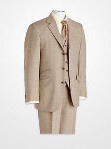 Steve Harvey Light Brown Windowpane Vested Suit