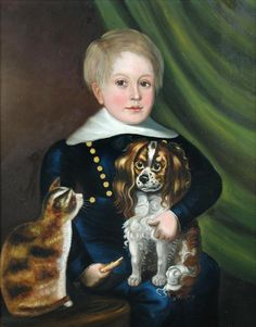 English Provincial School (19th Century) -  Portrait of a boy in a sailor suit, seated, holding a whistle, with his King Charles Spaniel and a cat,   oil on canvas,   h:65 w:52 cm