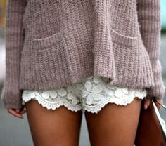 Lace Shorts, Baggy Pink Sweater