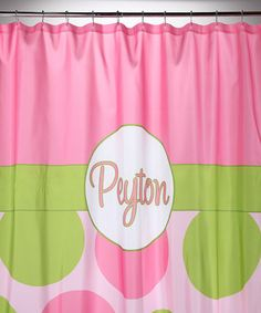 Pink & Green Polka Dot Shower Curtain #prettypearlsinc