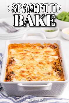 Spaghetti Bake - A comforting casserole made with spicy Italian sausage, veggies and rich, creamy cheese sauce. This recipe is my mom's fave! Spaghetti With Spinach, Sausage Spaghetti, Baked Spaghetti, Sausage Pasta, Creamy Cheese, How To Cook Sausage, Cheese Sauce, Baking Recipes, Macaroni And Cheese