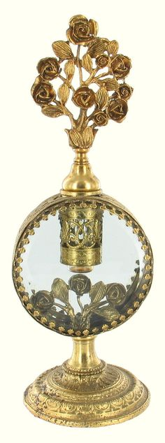 VINTAGE MATSON GLOBE ORNATE FILIGREE GILT GOLD DECANTER