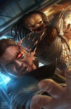 Predator vs The Terminator. Who would win this fight? Digital Art by Justine Tutubi