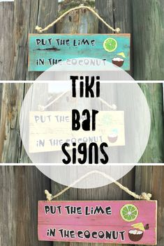This Put the Lime in the Coconut sign screams, party time. It's perfect for your outdoor tiki bar or patio. Hand painted in tropical colors for an island vibe. Outdoor Tiki Bar, Tiki Bar Signs, Beach Wood Signs, Big Backyard, Tropical Colors, Garden Signs, Hanging Signs, Inspired Homes, Pallet Projects