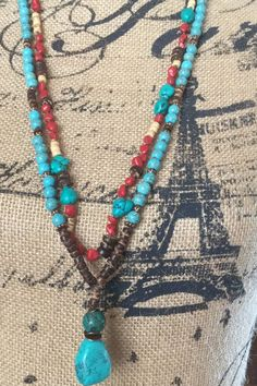 Boho Necklace Hand Knotted Gemstone/ Hippie/ by Ivanwerks on Etsy
