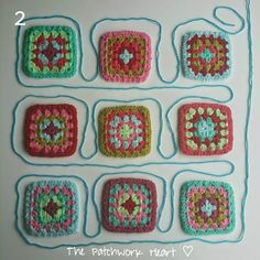 The Patchwork Heart: Joining Squares Method 3 - Continuous join as you go Crochet Quilt, Crochet Blocks, Crochet Granny, Crochet Motif, Crochet Stitches, Crochet Curtains, Crochet Cross, Filet Crochet, Double Crochet