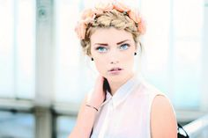 Elsa Holmgren braided updo with peach roses