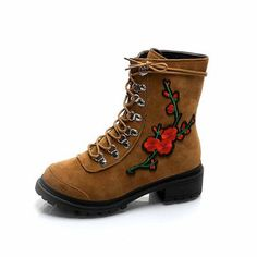 86feac4a7fa Designer Round Toe Floral Embroidery Comfortable Square Heels Ankle Boots  For Women - NewChic Mobile Warm