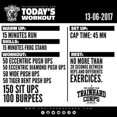 """Our new """"Today's Workout"""" is now out and available! #trainhardcorpstodaysworkout #trainhardcorps #calisthenics #calisthenicsmotivation #pushups #eccentricpushups #chest #situps #abs #sixpack #burpees #workout #wod #bodyweight #bodyweightworkout #bodyweighttraining #muscle"""