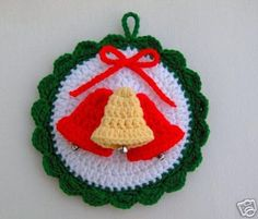 New Knitting Patterns Free Christmas Products Ideas Crochet Christmas Decorations, Crochet Christmas Ornaments, Christmas Bells, Christmas Items, Christmas Projects, Holiday Crafts, Holiday Crochet Patterns, Knitting Patterns Free, Crochet Ideas