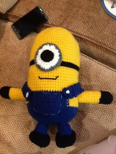 "Here is the pattern for my (renamed) Big Baby Minion! Yarns Used: Caron One Pound ""Sunflower"" Caron One Pound ""Black"" Red Heart Super Saver ""Soft Navy"" White scraps for the eye With a US G6/4.00 mm…"
