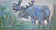Blue moose. 16x32 oil on canvas