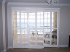 I Would Like To Do Plantation Shutters On Our Giant Wall Of Sliding Glass  Doors.