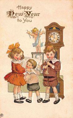 Postcard Children Grandfather Clock Baby New Year Cherub Hourglass~112875 #NewYear