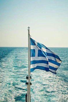 Greek Flag Sailing in the Aegean Sea, Greece. Corfu, Karpathos, Crete, Paros, Greek Flag, Greek Culture, Flag Art, Rumble In The Jungle, Parfum Spray