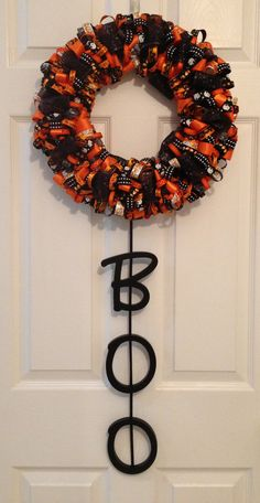 Halloween Ribbon Wreath with BOO Wooden Letters