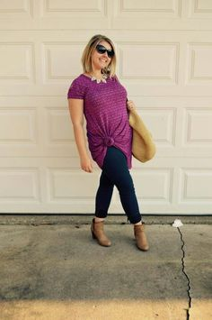 Check out the LuLaRoe Carly knotted over skinny jeans, with stylish ankle booties!  Like the look? Come shop: www.facebook.com/lularoekatelea #KateLeaSimplyStylish