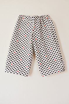 Toddler boys long shorts baggy trousers ankle biters cropped pants pyjama bottoms navy red spots polka dot print age 3-4. $22.50, via Etsy.