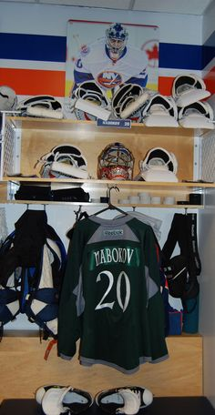 Evgeni Nabokov's stall with the green St. Patrick's Day inspired warmup jerseys.