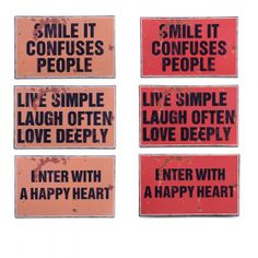 Set of Three Rustic Metal Message Signs - Two Colours Available #homedecor #homeideas www.home33accessories.co.uk