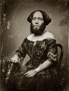 "ca. 1853, [daguerreotype portrait of Josephine Clofullia, P.T. Barnum's ""The Bearded Lady of Geneva""], Thomas M. Easterly  via the Missouri History Museum"