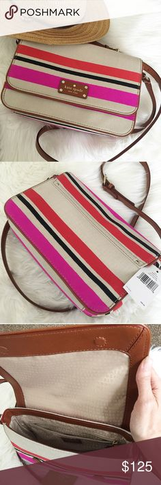 kate spade Fynn Crossbody bag. Price firm. kate spade Oak Island Stripe Crossbody bag.  NWT. Retail: $298.00 Style: Fynn Oak Island Stripe Color: Natural/Multi  Material: Cotton trimmed with genuine leather. Goldtone hardware. Kate Spade signature embossed on front leather plate INTERIOR: Lined with fabric.                                                   Care Card included.  Side zipped pocket and a side slip pocket. Bag Dimension: 11 in (width) x 7 in (height) x 3 in (depth) Handle is 20…