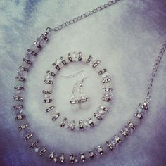 White and AB clear glass bead and Rhinestone set