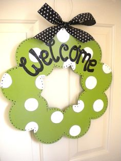 Welcome Wood Wreath cute signs polka dot by yourethatgirldesigns, $39.95