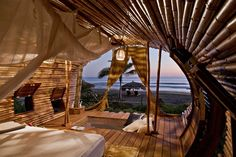 Hotel em praia mexicana tem suíte feita de bambu (Foto: Divulgação)