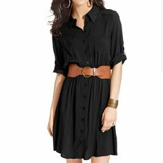 🌸BCX Shirt Dress🌸 Cute button up black dress with tan belt. Worn a few times and in great condition. BCX Dresses Long Sleeve