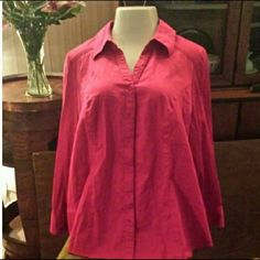 Shirt Long sleeved, mostly cotton, button front shirt, fuschia. Excellent used condition. Lane Bryant Tops Button Down Shirts