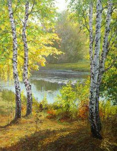 Березы, Михаил Бровкин- картина, русские березки, озеро в лесу, летний пейзаж