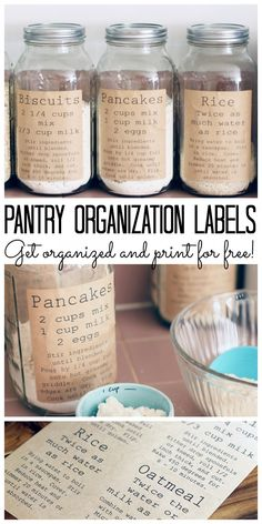 Mason Jar pantry organisation labels, storage and home organisation ... lovely ideas for organising just about everything with mason jars #MasonJar #Organization #organisation #organized #storagesolutions #goinggreen
