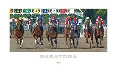 """Head on Out"" This image captures seven runners as they charge directly at the viewer. The signature red and white umbrellas of Saratoga can be seen in the background as well the large screen coverage of the race as it begins to unfold."