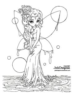 Water Fairy - Lineart by JadeDragonne.deviantart.com on @deviantART