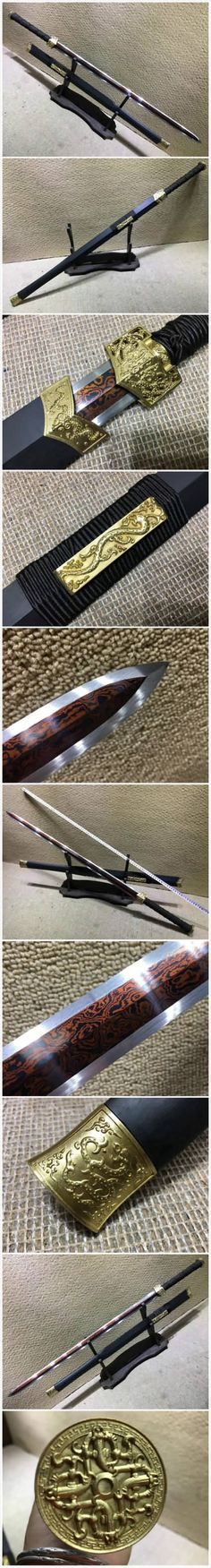 "Item Specification: Material:Damascus steel/Folded steel,Red-surface treatment; Sword Type:Hand Made Sword; Package weight:2KG; Overall Length:41""/105cm; Blade Length:29""/75CM; Scabbard:Black wood; Handle:Solid wood, wrapped a rope slip; Knife fitted:Brass fittings; Condition:Brand New; Origin:Longquan Zhejiang China; Accessories:Cotton sword bag. No wood stand."