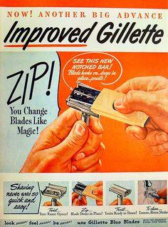1940s GILLETTE Blades Razor illustration vintage advertisement