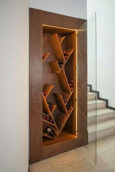 24 Moden Wall Wine Rack Designs For Classy Home Wine Rack Design, Wine Cellar Design, Wine Rack Wall, Wine Wall, Wine Shelves, Wine Storage, Home Wine Cellars, Home Bar Designs, Wine Decor