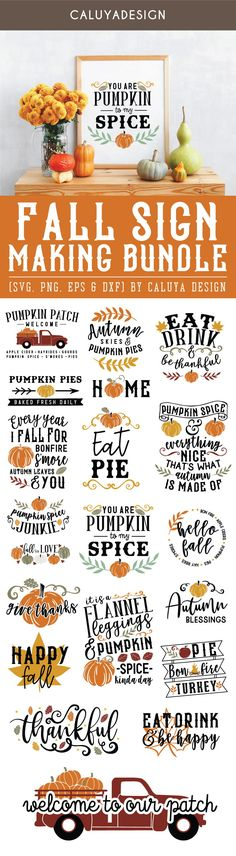 Fall Sign Making Bundle include 20 creative designs for thanksgiving signs, fall DIY signs! How To Use Cricut, How To Make, Thanksgiving Signs, Unique Quotes, Diy Pumpkin, Cricut Tutorials, Happy Fall Y'all, Fall Signs, Fall Diy