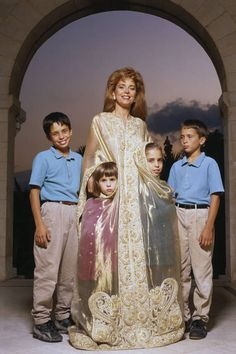 Queen Noor of Jordan in 1991 with her children, Prince Hamzah, Princess Raiyah, Princess Iman, and Prince Hashim (from left to right).