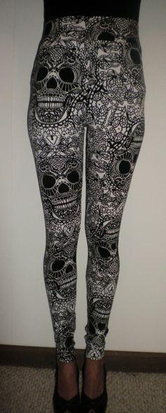 SALE+High+Waisted+Black+and+White+Skulls+Leggings+by+kalypsoblue,+$22.00